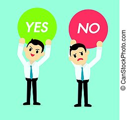 Businessman holding Yes or no  sign vector illustration