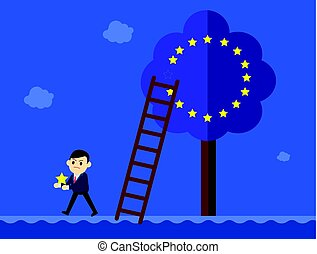 Business man in suit goes out from a European Union tree.Brexit Great Britain EU exit concept vector