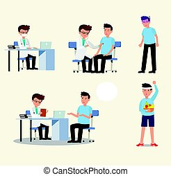 Doctor and patient character activity set vector.doctor and patient in medical activity, injection, examination, operation, pharmacy and health care. Flat design.