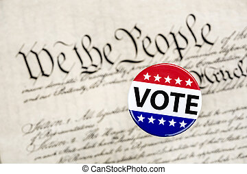 Vote badge and constitution - A vote badge hovers above the...