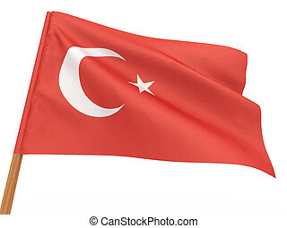 flag fluttering in the wind. Turkey. 3d