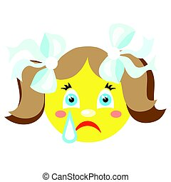 Smiley girl cries. Icons on a white background. Vector image...