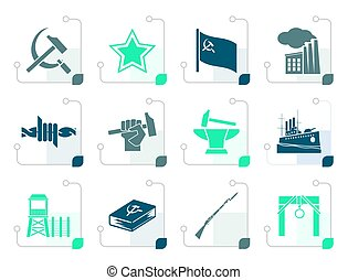 Stylized Communism, socialism and revolution icons - vector...