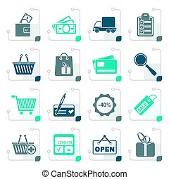 Stylized Shopping and website icons - vector icon set