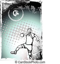 blue handball poster - sketching of the handball player