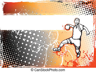 orange handball poster - sketching of the handball player