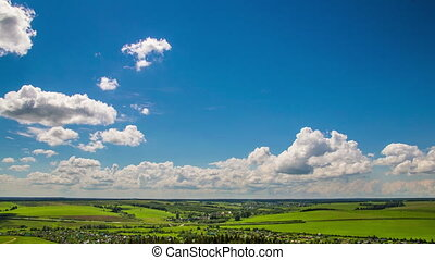 Time-lapse of clouds in a beautiful landscape