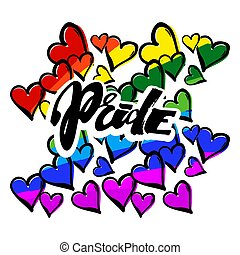 Gay pride rainbow colored hearts  pattern.