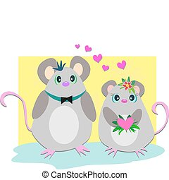 Loving Mice Couple - These two Mice are totally in love with...