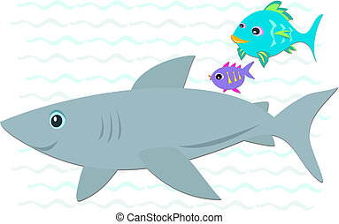 Shark with Two Colorful Fish