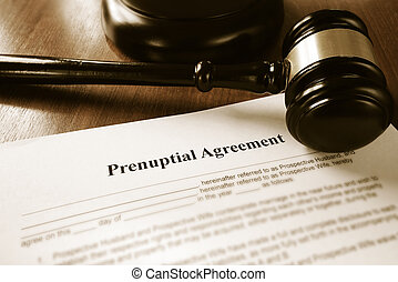 Prenup contract - Prenuptial contract and court gavel
