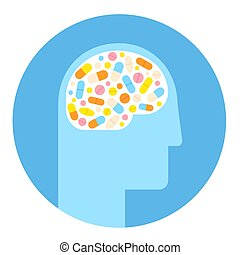 Brain and drugs icon - Human head silhouette with brain...
