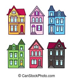 Victorian houses set - Old Victorian houses, vector...