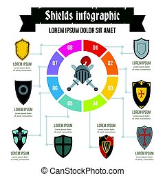 Shields infographic concept, flat style