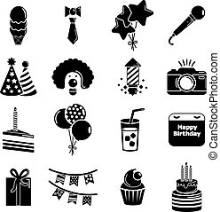 Happy birthday icons set, simple style