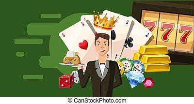 Casino croupier horizontal banner, cartoon style - Casino...