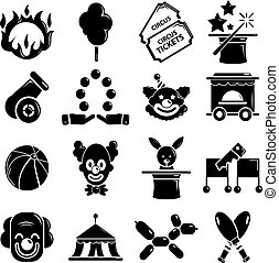 Circus icons set, simple style