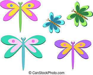 Mix of Dragonflies and Butterflies