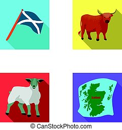The state flag of Andreev, Scotland, the bull, the sheep,...