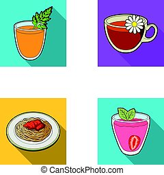 Carrot juice in a glass, chamomile tea in a cup, porridge on a plate, strawberry juice in a glass with a leaf. Vegetarian dishes set collection icons in flat style vector symbol stock illustration web.
