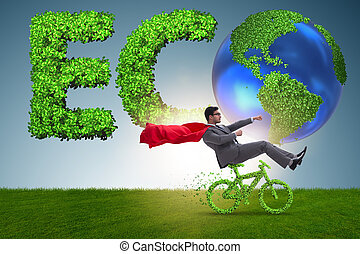 Green bycycle in environmentally friendly transportation concept