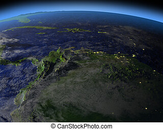 North of South America at night