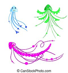 Vector set of cartoon jelly fish for children in primitive style, isolated