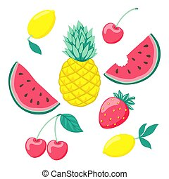 set of stylized fruits, a symbol of summer. Collection of scrapbooking elements. design for holiday greeting card and invitation of seasonal summer holidays, beach parties, tourism and travel.