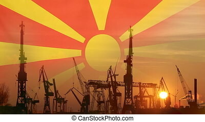 Industrial concept with Macedonia flag at sunset, silhouette...