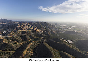 Aerial of Hills Between Thousand Oaks and Camarillo...