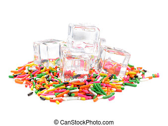ice on colorful eatable sugar for food decoration