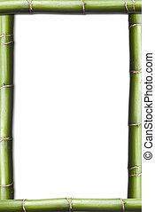 Vertical bamboo frame. - A frame made of bamboo plants on a...