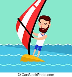 Young man windsurfing in the sea. - Young hipster man with...