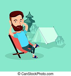 Man sitting in folding chair in the camp. - Satisfied...