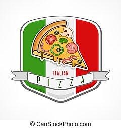 Pizza sticker on white
