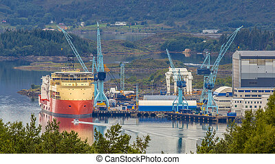 Offshore support vessel being built at shipyard - ship...
