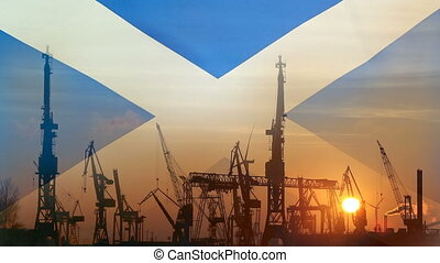 Industrial concept with Scotland flag at sunset, silhouette...