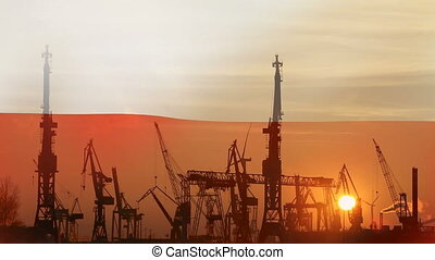 Industrial concept with Poland flag at sunset, silhouette of...