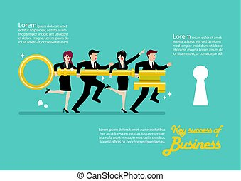 Infographic of business team holding golden key to unlock the lock