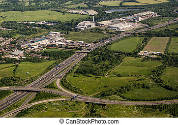 Aerial View M25, West London - View from a low flying plane...