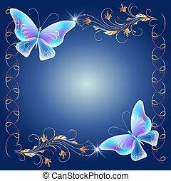 Golden frame with transparent butterflies - Floral golden...