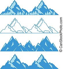 Set of mountains with snow and trees. Vector illustration