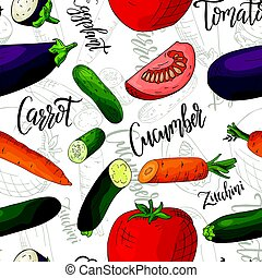 Vector seamless pattern with vegetables. Cucumber and carrot and tomato and eggplant background. Hand drawn elements