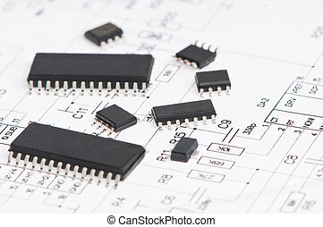 microelectronics element and layout - several integrated...