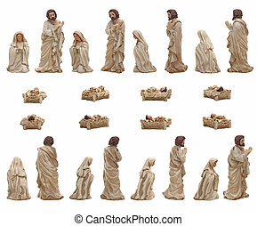 Mary, Jesus and Joseph - Christmas crib isolated on white...