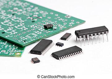 micro, electrónica, elemento, tabla