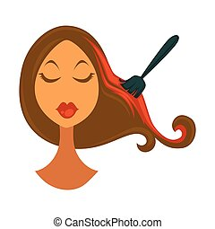 Woman and brush that colors hair in red