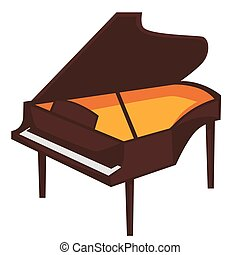 Big brown piano with open top isolated illustration - Big...