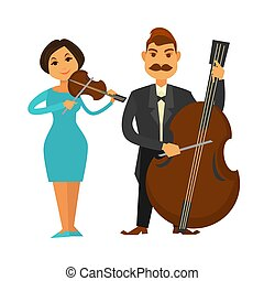 Orchestra members with violin and violoncello isolated illustration