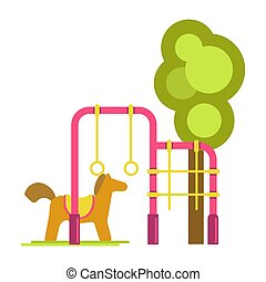 Children playground with horizontal bars, artificial horse...